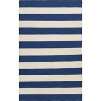 Surya Frontier Striped 5' x 8' Area Rug in Dark Blue/White