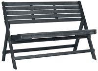 Safavieh Luca Folding Outdoor Bench in Dark Slate Grey