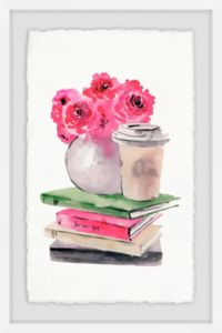 Marmont Hill Book and Coffee Corner 12-Inch x 18-Inch Framed Wall Art