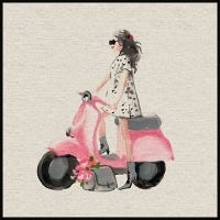 Marmont Hill Pink Scooter II 18-Inch Square Framed Wall Art