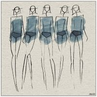 Marmont Hill Blue Bottoms II 12-Inch Square Framed Wall Art