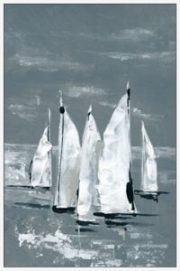Marmont Hill White Sailboats 16-Inch x 24-Inch Framed Wall Art