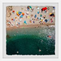 Marmont Hill Packed Beach 18-Inch Square Framed Wall Art