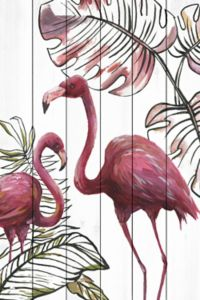 Marmont Hill Tropical Flamingos 12-Inch x 18-Inch Wood Wall Art