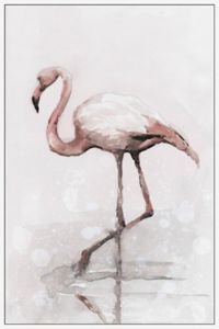 Marmont Hill Flamingo Splash 16-Inch x 24-Inch Framed Canvas Wall Art