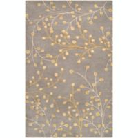 Surya Athena Floral 6' x 9' Area Rug in Grey/Neutral