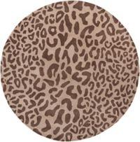 Surya Athena Animal Print 6' Round Area Rug in Brown