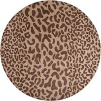Surya Athena Animal Print 8' Round Area Rug in Brown