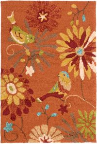 Surya Rain Floral 2' x 3' Hand-Hooked Indoor/Outdoor Area Rug in Orange
