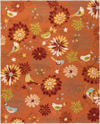 Surya Rain Floral 8' x 10' Hand-Hooked Indoor/Outdoor Area Rug in Orange