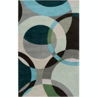 Surya Forum Modern Circles 6' x 9' Area Rug in Green/Neutral