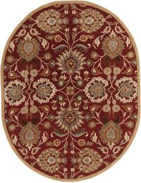 Surya Caesar Classic Hand Tufted 6' x 9' Oval Area Rug in Red/Cream