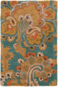 Surya Sea Floral 2' x 3' Hand Tufted Accent Rug in Blue/Brown