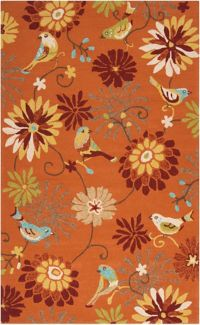 Surya Rain Floral 3' x 5' Hand-Hooked Indoor/Outdoor Area Rug in Orange