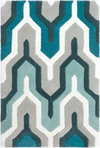 Surya Cosmopolitan 2' x 3' Hand Tufted Accent Rug in Teal/Grey