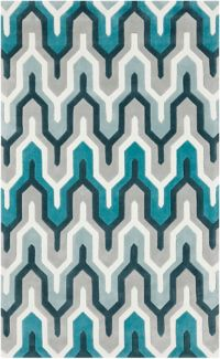 Surya Cosmopolitan 5' x 8' Hand Tufted Area Rug in Teal/Grey
