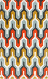 Surya Cosmopolitan 5' x 8' Hand Tufted Area Rug in Green/Orange
