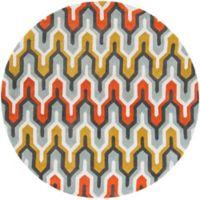 Surya Cosmopolitan 8' Hand Tufted Round Area Rug in Green/Orange