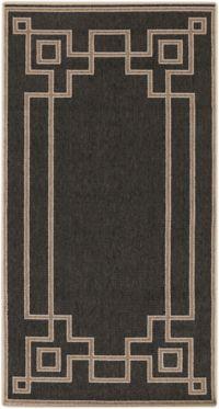 Surya Alfresco Border Indoor/Outdoor 2'3 x 4'6 Accent Rug in Black/Brown