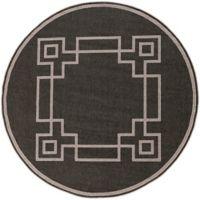 Surya Alfresco Border Indoor/Outdoor 5'3 Round Rug in Black/Brown
