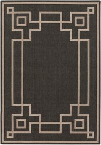 Surya Alfresco Woven 8'9 x 12'9 Area Rug in Black/Brown