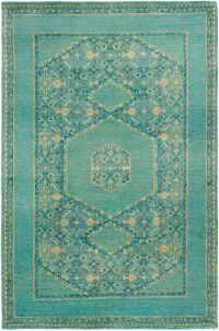 Surya Haven 3'6 x 5'6 Hand-Knotted Area Rug in Green/Blue