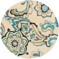 Surya Cosmopolitan Floral 8' Round Area Rug in Blue