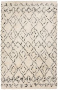 Surya Tasman 5' x 8' Shag Area Rug in Cream/Dark Green
