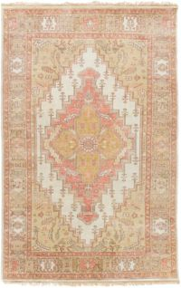 Surya Zeus Center Medallion 2' x 3' Hand Knotted Accent Rug in Rose/Mauve