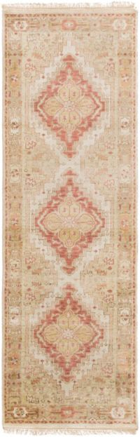 Surya Zeus Center Medallion 2'6 x 8' Hand Knotted Runner in Rose/Mauve