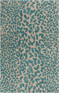 Surya Athena Animal Print 9' x 12' Area Rug in Dark Green/Camel