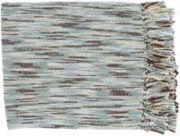 Surya Teegan Oversized Throw Blanket in Light Blue/Brown