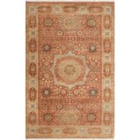 Surya Cambridge Center Medallion 5'6 x 8'6 Hand Knotted Area Rug in Rust/Cream