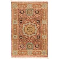 Surya Cambridge Center Medallion 2' x 3' Hand Knotted Accent Rug in Rust/Cream