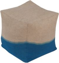 Surya Dip-Dyed Pouf in Khaki/Dark Blue