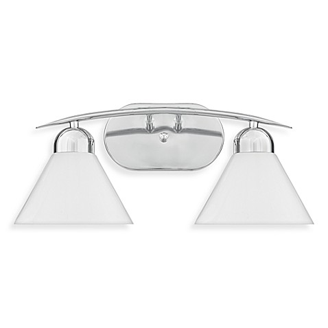 Demitri 2-Light Polished Chrome Finished Bath Fixture with White Seeded Sandstone Glass
