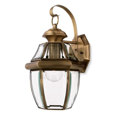 quoizel newbury medium 1light outdoor wall fixture in antique brass