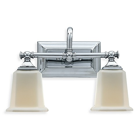 Buy quoizel nicholas 2 light polished chrome bath fixture w opal etched glass shades from bed for Chrome bathroom light fixtures