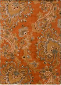 Surya Sea Floral 8' x 11' Hand Tufted Area Rug in Orange/Brown
