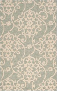 Surya Rain Medallion 9' x 12' Hand-Hooked Indoor/Outdoor Area Rug in Green
