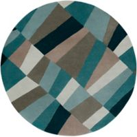 Surya Cosmopolitan Geometric 8' Round Area Rug in Blue/Green