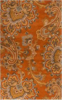 Surya Sea Floral 9' x 13' Hand Tufted Area Rug in Orange/Brown