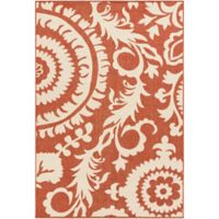 Surya Alfresco Indoor/Outdoor 5'3 x 7'6 Area Rug in Red/Natural