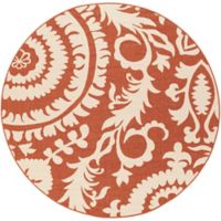 Surya Alfresco Indoor/Outdoor 5'3 Round Area Rug in Red/Natural