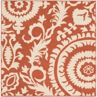 Surya Alfresco Indoor/Outdoor 7'3 Square Area Rug in Red/Natural