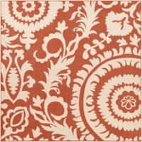 Surya Alfresco Indoor/Outdoor 8'9 Square Area Rug in Red/Natural