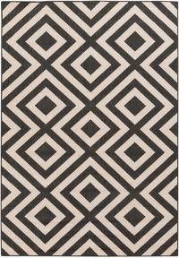 Surya Alfresco 8'9 x 12'9 Indoor/Outdoor Area Rug in Black/Cream