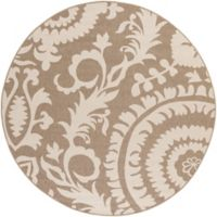 Surya Alfresco Indoor/Outdoor 5'3 Round Area Rug in Brown/Natural