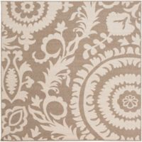 Surya Alfresco Indoor/Outdoor 7'3 Square Area Rug in Brown/Natural