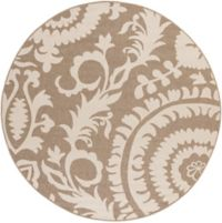 Surya Alfresco Indoor/Outdoor 8'9 Round Area Rug in Brown/Natural